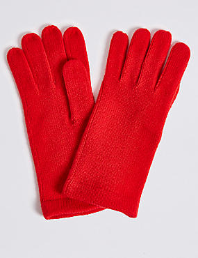 Knitted Gloves , RED, catlanding