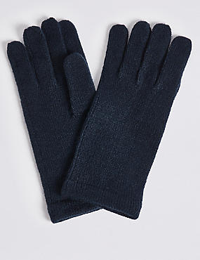 Knitted Gloves , NAVY, catlanding