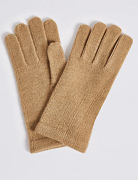Knitted Gloves , CAMEL MIX, catlanding