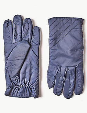 Quilted Gloves, NAVY, catlanding