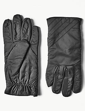 Quilted Gloves, BLACK, catlanding