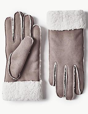 Faux Shearling Gloves, GREY, catlanding