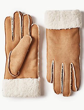 Faux Shearling Gloves, TAN, catlanding