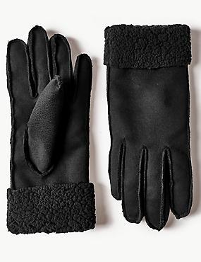 Faux Shearling Gloves, BLACK, catlanding