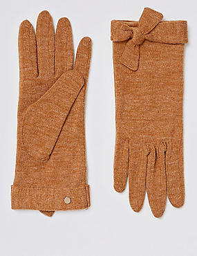 Textured Knot Detail Gloves, CAMEL MIX, catlanding