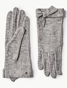 Textured Knot Detail Gloves, GREY MARL, catlanding