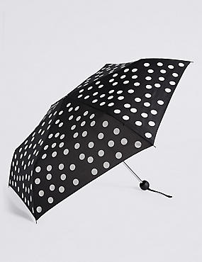 Spotted Compact Umbrella with Stormwear™, BLACK MIX, catlanding