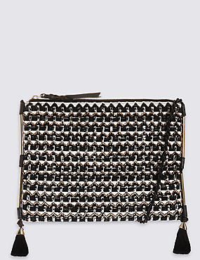 Geometric Beaded Clutch Bag