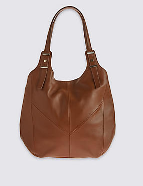 Leather Panelled Hobo Bag