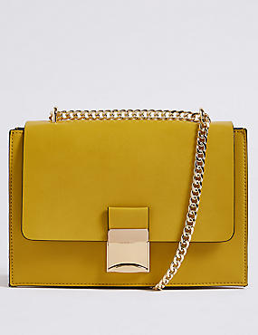 Faux Leather Push Lock Shoulder Bag