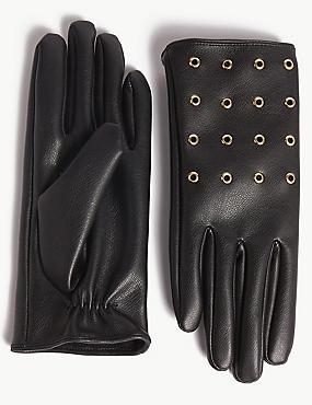 Faux Leather Eyelet Detail Gloves, BLACK MIX, catlanding