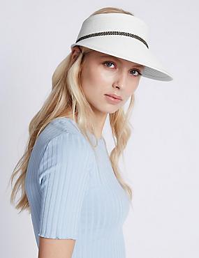 Weave Contrast Trim Visor Hat, WHITE, catlanding