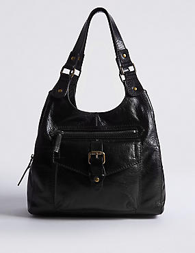 Leather Buckle Hobo Bag