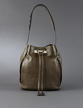 Leather Drawstring Duffle Bag