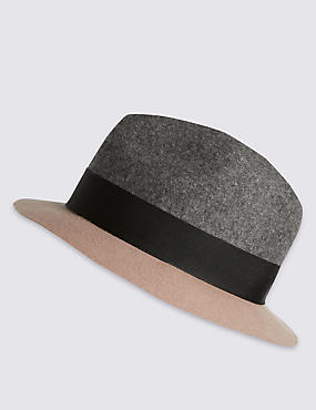 Pure Wool Colour Block Trilby