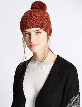 Textured Bobble Winter Hat