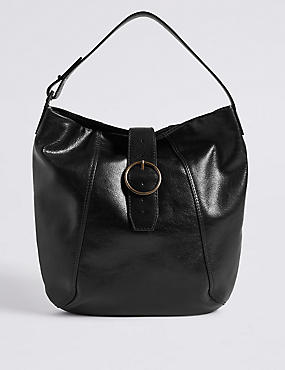 Leather Round Buckle Hobo Bag
