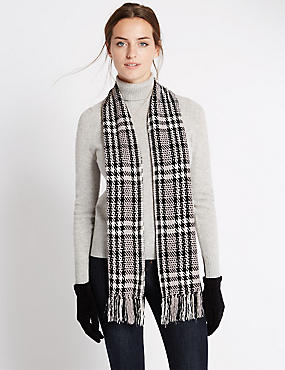 Chenille Checked Scarf and Gloves Set