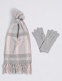 Checked Scarf & Gloves Set