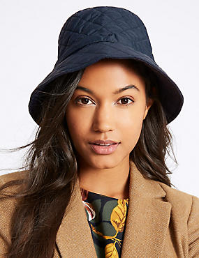 Quilted Popper Strap Winter Hat, NAVY, catlanding