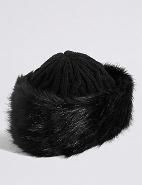 Faux Fur Cable Knit Winter Hat