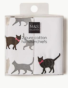 2 Pack Pure Cotton Handkerchiefs, WHITE MIX, catlanding