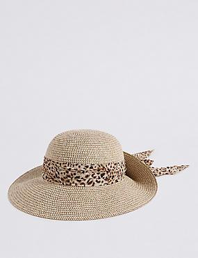 Woven Scarf Trim Sun Hat, NATURAL MIX, catlanding