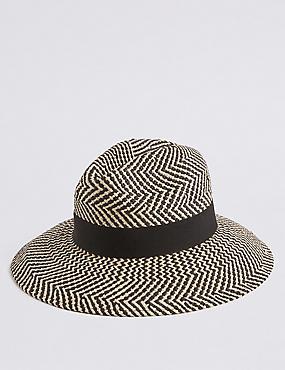 Zig Zag Fedora Hat , BLACK MIX, catlanding