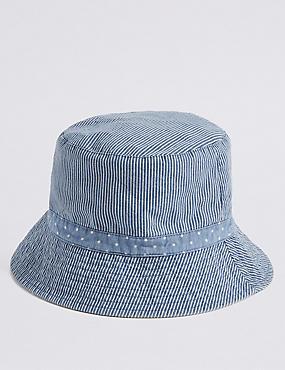 Stripe & Spot Summer Hat , BLUE MIX, catlanding