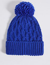 Lattice Knit Bobble Hat