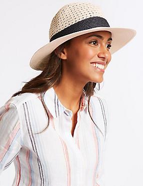 Textured Fedora Sun Hat  , CREAM MIX, catlanding