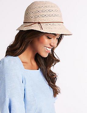 Cotton Blend Cloche Sun Hat, CREAM, catlanding