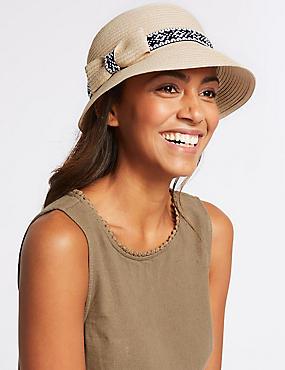 Stripe & Trim Sun Hat, NATURAL, catlanding