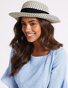 Textured Scarf Trim Sun Hat, NAVY, catlanding