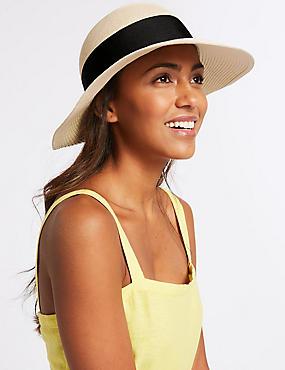 Grosgrain Trim Sun Hat, NATURAL, catlanding