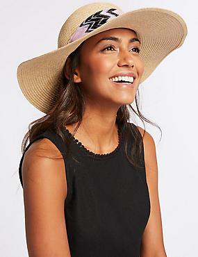 Eyelet Scarf Trim Sun Hat , NATURAL MIX, catlanding