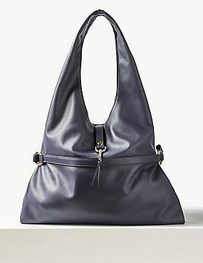 Faux Leather Tie Detail Shoulder Bag, NAVY MIX, catlanding