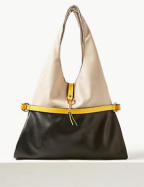 Faux Leather Tie Detail Shoulder Bag, CREAM MIX, catlanding