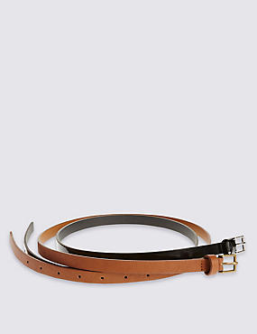 2 Pack Leather Square Buckle Skinny Hip Belts