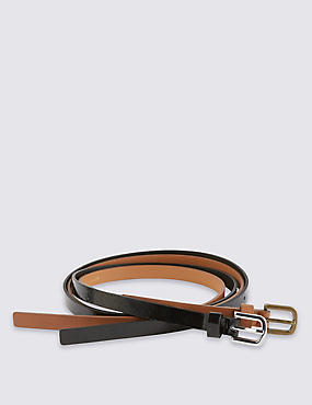 2 Pack Faux Leather Square Buckle Skinny Hip Belts