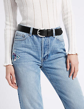 Leather Core Jeans Hip Belt, BLACK, catlanding