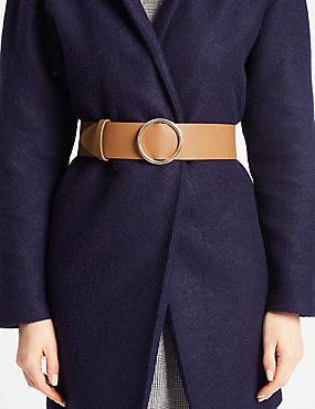 Faux Leather Round Buckle Waist Belt, CAMEL, catlanding