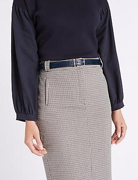 Faux Leather Jeans Hip Belt, NAVY, catlanding