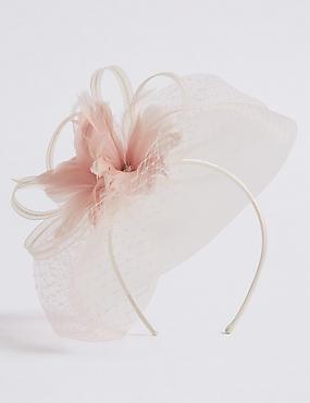 Flower Veil Bow, CREAM MIX, catlanding