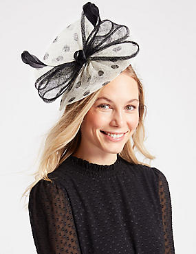 Spotted Bow Fascinator, CREAM MIX, catlanding