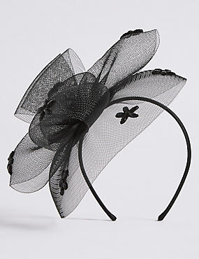 Flower Gem Fascinator , BLACK, catlanding