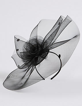 Large Spotted Mesh Fascinator , BLACK, catlanding