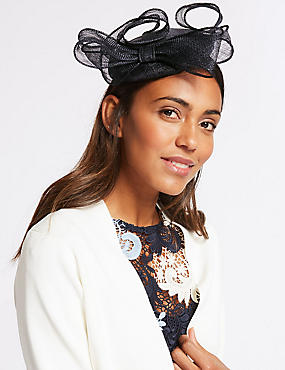 Pillbox Bow Fascinator, NAVY, catlanding