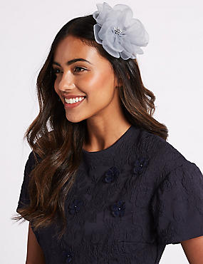 Flower Clip Fascinator, GREY, catlanding