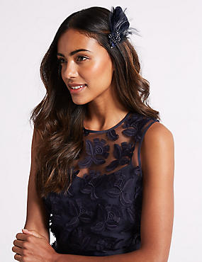 Feather Clip Fascinator, NAVY, catlanding